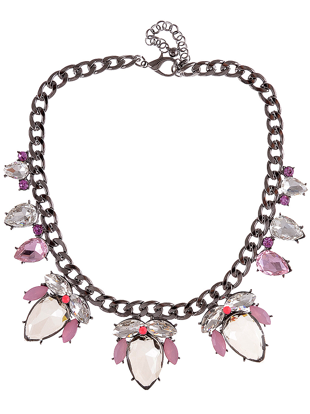 Mouse Gray Pink Chain Necklace