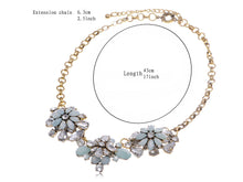 Load image into Gallery viewer, Antique Style Blue Opal Like Flower Trio Necklace