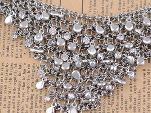 Rock Cascading Triangle Chain Link Trendy Necklace Bib
