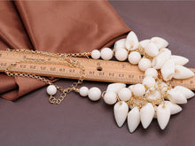 Load image into Gallery viewer, Shell Like Tooth Cluster Dangling Gold Collar Bib Statement Necklace