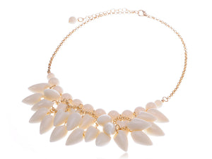 Shell Like Tooth Cluster Dangling Gold Collar Bib Statement Necklace