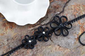 Black Chain Flower Trio Tassel Trend Jewelry Necklace