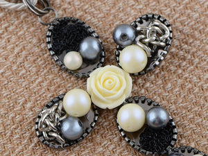 Twist Braid Rosette Detail Statement Cross Jewelry Necklace