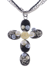 Load image into Gallery viewer, Twist Braid Rosette Detail Statement Cross Jewelry Necklace