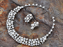 Load image into Gallery viewer, Silver Flower White Pearl Bead Necklace Dangle Earrings Jewelry Set