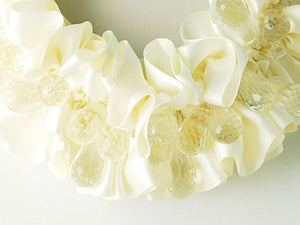 Cream Bridal Wedding Ruffle Ss Gems Jewelry Necklace Bib
