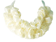 Load image into Gallery viewer, Cream Bridal Wedding Ruffle Ss Gems Jewelry Necklace Bib
