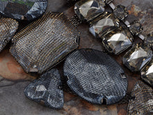 Load image into Gallery viewer, Statement Mesh Net Grey Topaz Jewel Gem Necklace Bib