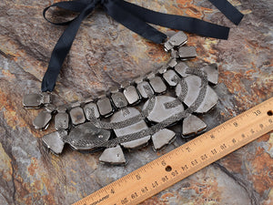 Statement Mesh Net Grey Topaz Jewel Gem Necklace Bib
