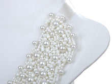 Load image into Gallery viewer, Bridal Wedding White Pearl Beaded Mesh Bib Ribbon Necklace