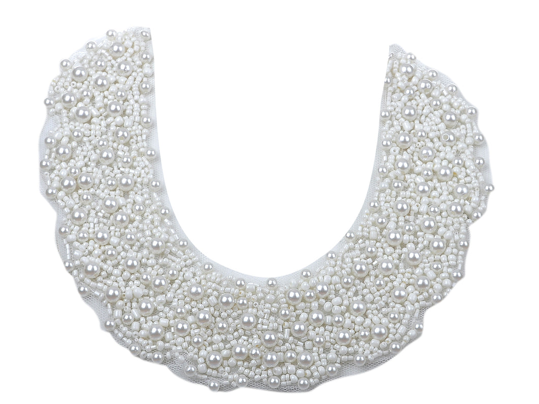 Bridal Wedding White Pearl Beaded Mesh Bib Ribbon Necklace