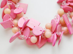 Peach Hot Wild Pink Diva Princess Beaded Bohemian Girl Cluster Pieces Necklace
