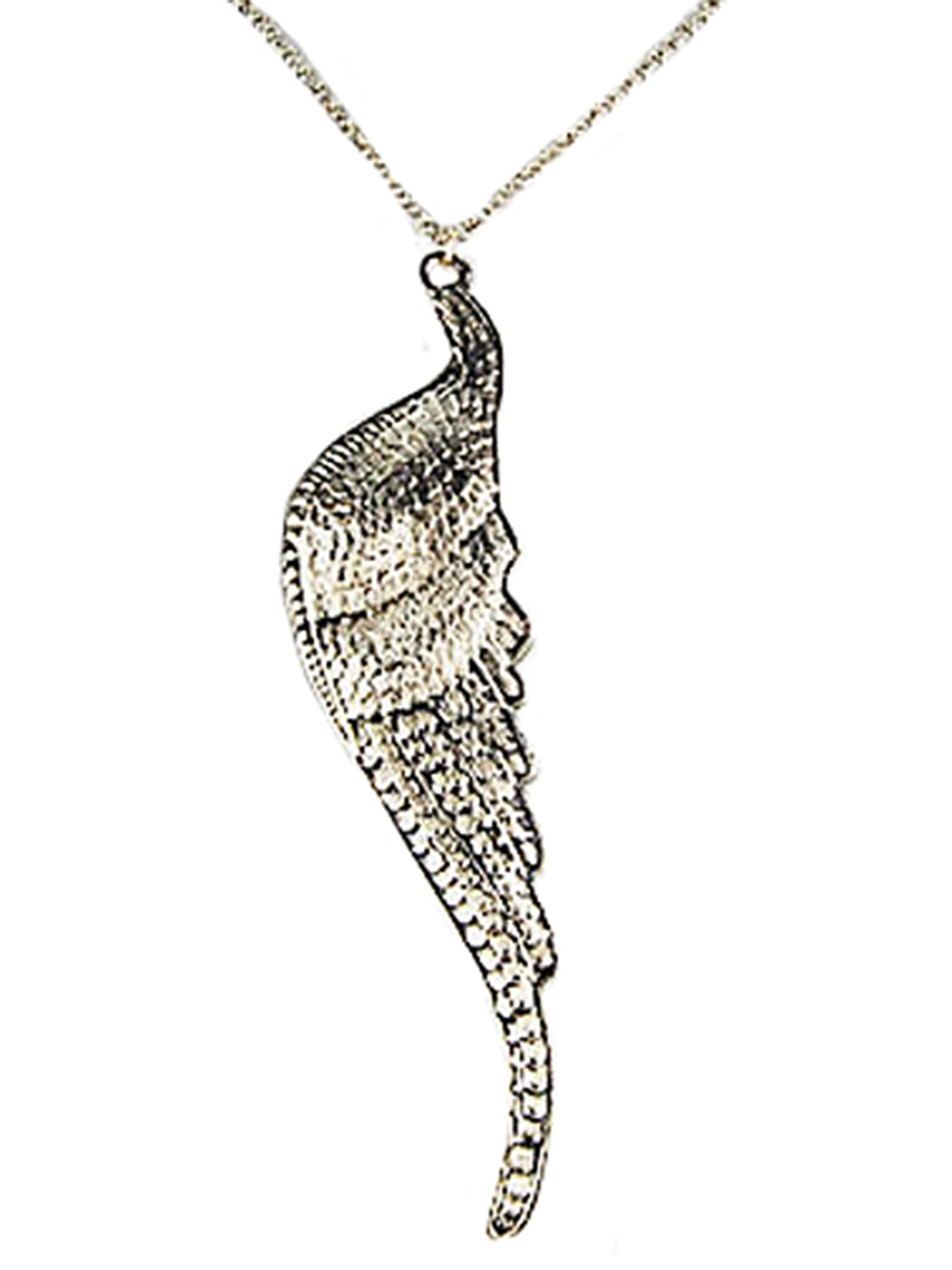 Big Angel Bird Wing Profile Pendant Necklace