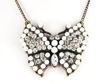 Load image into Gallery viewer, Pearl Bead Czech Insect Butterfly Pendant Necklace