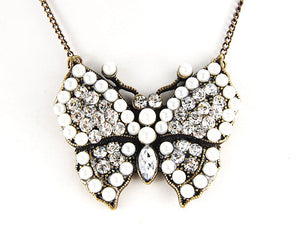 Pearl Bead Czech Insect Butterfly Pendant Necklace