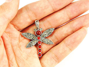 Thai Sterling Silver 92.5 Agate Insect Bug Dragonfly Necklace Pendant
