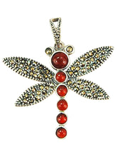 Load image into Gallery viewer, Thai Sterling Silver 92.5 Agate Insect Bug Dragonfly Necklace Pendant