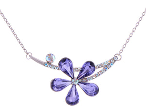 Swarovski Crystal Amethyst Colored Floral Flower Pendant Necklace