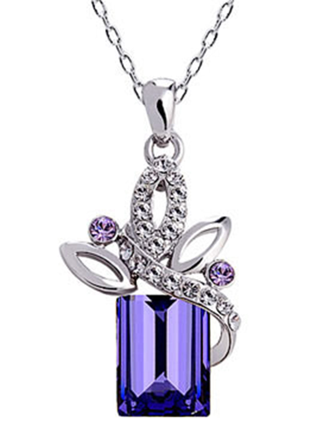 Amethyst Purple Box Present Gift Pendant Necklace