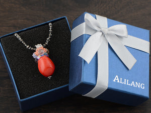Swarovski Crystal Blood Orange Pouch Amulet Pendant Necklace