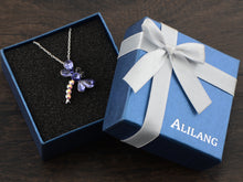 Load image into Gallery viewer, Swarovski Crystal Amethyst Purple Ab Cartoon Dragonfly Bug Pendant Necklace