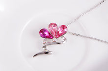 Load image into Gallery viewer, Swarovski Crystal Rose Fuchsia Ab Abstract Flower Pendant Necklace