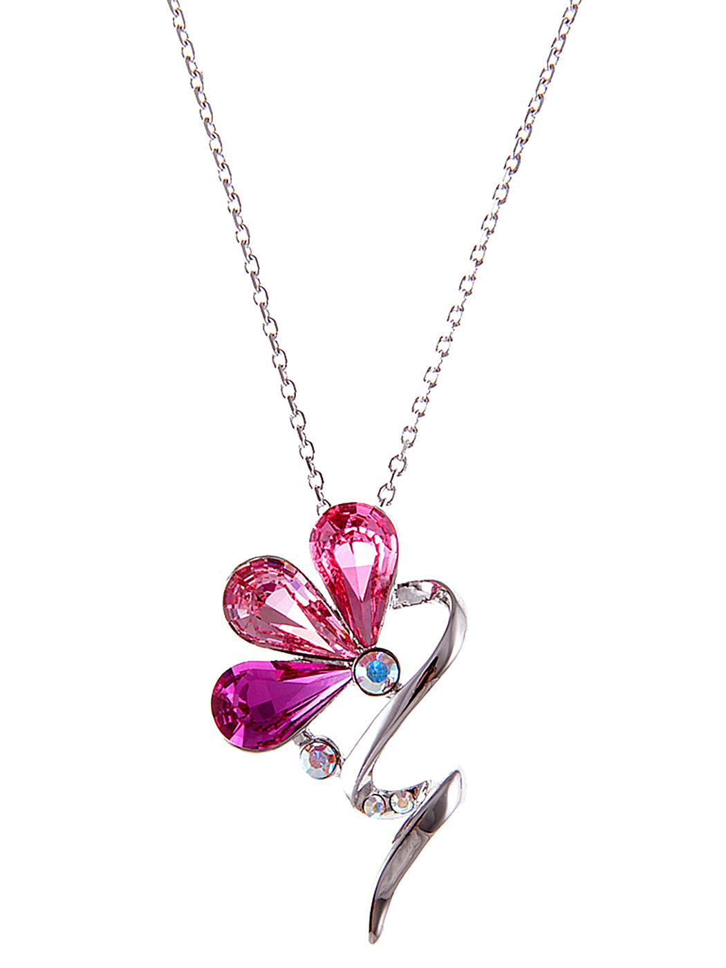 Swarovski Crystal Rose Fuchsia Ab Abstract Flower Pendant Necklace
