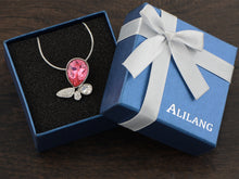 Load image into Gallery viewer, Swarovski Crystal Pink Fuchsia Abstract Butterfly Pendant Necklace