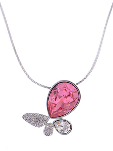 Swarovski Crystal Pink Fuchsia Abstract Butterfly Pendant Necklace