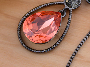 Swarovski Crystal Teardrop Ruby Red Siam Pear Dangle Pendant Necklace