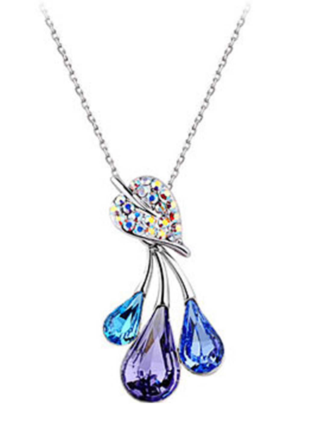 Blue Violet Ab Leaf Droplets Fruit Pendant Necklace