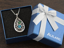 Load image into Gallery viewer, Swarovski Crystal Tear Drop Blue Web Net Pendant Necklace