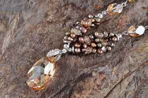 Topaz Pearl Bead Link Brown Drop Amulet Pendant Necklace