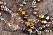 Load image into Gallery viewer, Topaz Pearl Bead Link Brown Drop Amulet Pendant Necklace