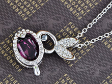 Load image into Gallery viewer, Swarovski Crystal Violet Rose Pink Bunny Rabbit Necklace Pendant