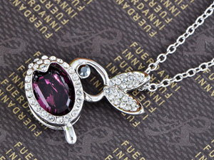 Swarovski Crystal Violet Rose Pink Bunny Rabbit Necklace Pendant