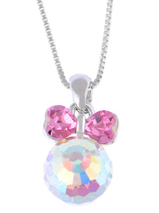 Swarovski Crystal Pink Fuchsia Bow Girl Power Disco 70S Ball Ab Pendant Necklace