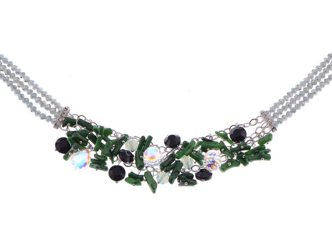 Swarovski Crystal Green Beads Cluster Pendent Necklace