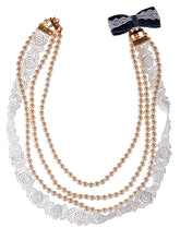 Load image into Gallery viewer, Swarovski Crystal Cream Triple Strand Pearl Bead Lady Like Lace Denim Bow Tie Back Necklace