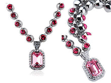 Load image into Gallery viewer, Swarovski Crystal Rose Pink Amulet Chain Jewelry Pendant Necklace