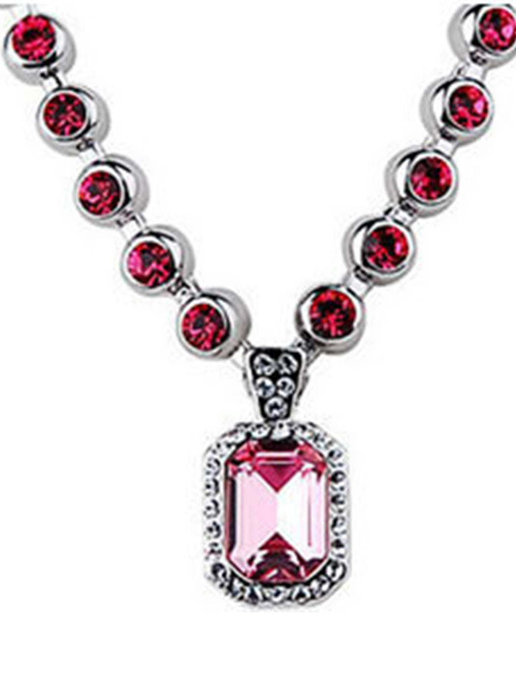 Swarovski Crystal Rose Pink Amulet Chain Jewelry Pendant Necklace