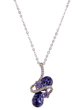 Load image into Gallery viewer, Swarovski Crystal Lavender Purple Ribbon Flower Tear Drop Art Pendant Necklace