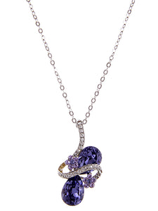 Swarovski Crystal Lavender Purple Ribbon Flower Tear Drop Art Pendant Necklace
