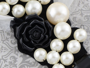 Princess Chiffon Dot Pearl Black Resin Rose Long V Bib Necklace