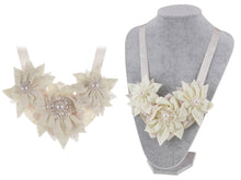 Load image into Gallery viewer, Cream Holiday Poinsettia Tri Flower Pearl Bridal Fabric Bib Ribbon Necklace