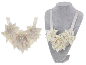 Cream Holiday Poinsettia Tri Flower Pearl Bridal Fabric Bib Ribbon Necklace