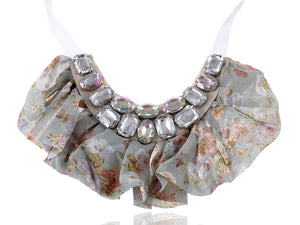 Country Flower Fabric Bib Ruffle Trim Aurora Boreale Gem Collar Necklace