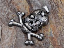 Load image into Gallery viewer, Stainless Steel Gun Cross Bones Skull Necklace Pendant