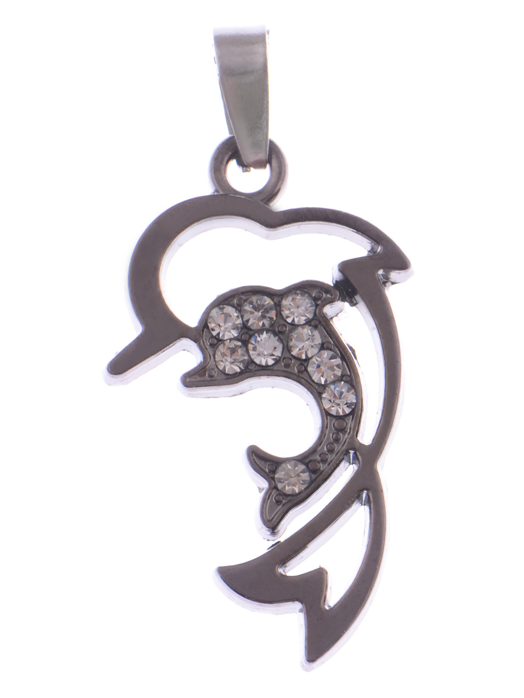 Stainless Steel Dolphin Outline Twin Couple Necklace Pendant