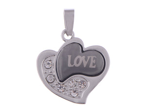Stainless Steel Hi Abstract Heart Love Necklace Pendant